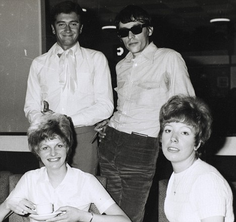 SHOW TIME: Tom, left, and his hero Tommy Vance, meet some fans at a Radio Caroline gig